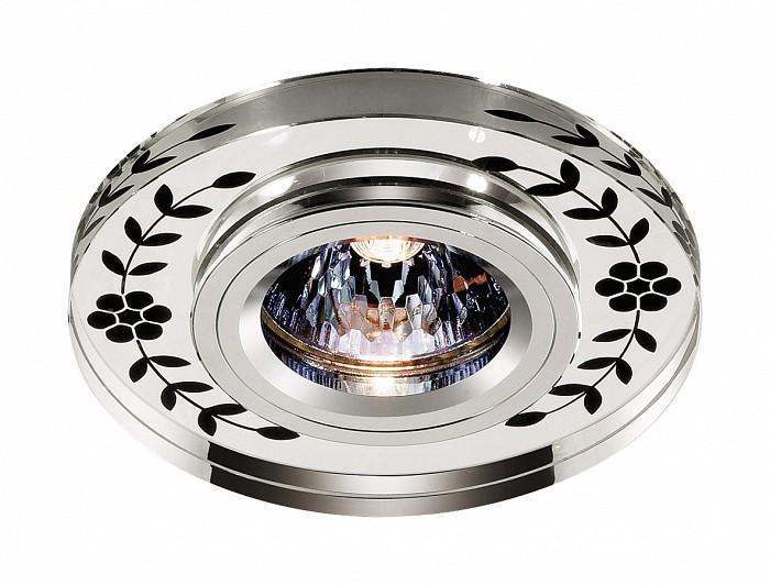 Встраиваемый светильник NovotechКруглые<br>Артикул - NV_369541,Бренд - Novotech (Венгрия),Коллекция - Mirror,Гарантия, месяцы - 24,Время изготовления, дней - 1,Глубина, мм - 13,Диаметр, мм - 100,Размер врезного отверстия, мм - 60,Тип лампы - галогеновая ИЛИсветодиодная [LED],Общее кол-во ламп - 1,Напряжение питания лампы, В - 12,Максимальная мощность лампы, Вт - 50,Лампы в комплекте - отсутствуют,Цвет плафонов и подвесок - неокрашенный с черным рисунком,Тип поверхности плафонов - прозрачный,Материал плафонов и подвесок - стекло,Цвет арматуры - хром,Тип поверхности арматуры - глянцевый,Материал арматуры - алюминиевое литье,Количество плафонов - 1,Возможность подлючения диммера - можно, если установить галогеновую лампу,Форма и тип колбы - полусферическая с рефлектором ИЛИполусферическая с радиатором,Тип цоколя лампы - GX5.3,Экономичнее лампы накаливания - на 50%,Класс электробезопасности - I,Напряжение питания, В - 220,Степень пылевлагозащиты, IP - 20,Диапазон рабочих температур - комнатная температура,Дополнительные параметры - возможна установка лампы GX5.3 (MR-16) на 12 В с подключением через трансформатор 12 В<br>