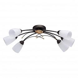 Потолочная люстра De Markt5 или 6 ламп<br>Артикул - MW_242016806,Бренд - De Markt (Германия),Коллекция - Восторг 2,Гарантия, месяцы - 24,Высота, мм - 220,Тип лампы - компактная люминесцентная [КЛЛ] ИЛИнакаливания ИЛИсветодиодная [LED],Общее кол-во ламп - 6,Напряжение питания лампы, В - 220,Максимальная мощность лампы, Вт - 60,Лампы в комплекте - отсутствуют,Цвет плафонов и подвесок - белый с рисунком,Тип поверхности плафонов - матовый,Материал плафонов и подвесок - стекло,Цвет арматуры - золото, коричневый,Тип поверхности арматуры - матовый,Материал арматуры - металл,Возможность подлючения диммера - можно, если установить лампу накаливания,Тип цоколя лампы - E14,Класс электробезопасности - I,Общая мощность, Вт - 360,Степень пылевлагозащиты, IP - 20,Диапазон рабочих температур - комнатная температура,Дополнительные параметры - способ крепления светильника к потолку – на монтажной пластине<br>