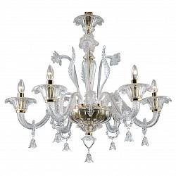 Подвесная люстра Odeon Light5 или 6 ламп<br>Артикул - OD_2795_6,Бренд - Odeon Light (Италия),Коллекция - Dita,Гарантия, месяцы - 24,Время изготовления, дней - 1,Высота, мм - 750,Диаметр, мм - 800,Тип лампы - компактная люминесцентная [КЛЛ] ИЛИнакаливания ИЛИсветодиодная [LED],Общее кол-во ламп - 6,Напряжение питания лампы, В - 220,Максимальная мощность лампы, Вт - 40,Лампы в комплекте - отсутствуют,Цвет плафонов и подвесок - неокрашенный,Тип поверхности плафонов - прозрачный,Материал плафонов и подвесок - стекло,Цвет арматуры - золото, неокрашенный,Тип поверхности арматуры - глянцевый, прозрачный,Материал арматуры - металл, стекло,Возможность подлючения диммера - можно, если установить лампу накаливания,Форма и тип колбы - свеча ИЛИ свеча на ветру,Тип цоколя лампы - E14,Класс электробезопасности - I,Общая мощность, Вт - 240,Степень пылевлагозащиты, IP - 20,Диапазон рабочих температур - комнатная температура,Дополнительные параметры - указана высота светильника без подвеса<br>