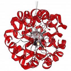 Подвесная люстра ST-Luce5 или 6 ламп<br>Артикул - SL452.603.06,Бренд - ST-Luce (Китай),Коллекция - Segreto,Гарантия, месяцы - 24,Высота, мм - 500-1200,Диаметр, мм - 500,Размер упаковки, мм - 550х550х200,Тип лампы - галогеновая,Общее кол-во ламп - 6,Напряжение питания лампы, В - 220,Максимальная мощность лампы, Вт - 40,Лампы в комплекте - галогеновые G9,Цвет плафонов и подвесок - красный,Тип поверхности плафонов - глянцевый,Материал плафонов и подвесок - стекло,Цвет арматуры - хром,Тип поверхности арматуры - глянцевый,Материал арматуры - металл,Возможность подлючения диммера - можно,Форма и тип колбы - пальчиковая,Тип цоколя лампы - G9,Класс электробезопасности - I,Общая мощность, Вт - 240,Степень пылевлагозащиты, IP - 20,Диапазон рабочих температур - комнатная температура,Дополнительные параметры - регулируется по высоте,  способ крепления светильника к потолку – на монтажной пластине<br>