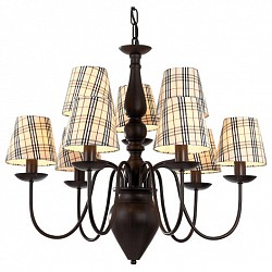 Подвесная люстра Arte LampТекстильные плафоны<br>Артикул - AR_A3090LM-6-3CK,Бренд - Arte Lamp (Италия),Коллекция - Scotch,Гарантия, месяцы - 24,Высота, мм - 600-1300,Диаметр, мм - 700,Тип лампы - компактная люминесцентная [КЛЛ] ИЛИнакаливания ИЛИсветодиодная [LED],Общее кол-во ламп - 9,Напряжение питания лампы, В - 220,Максимальная мощность лампы, Вт - 40,Лампы в комплекте - отсутствуют,Цвет плафонов и подвесок - разноцветный полосатый,Тип поверхности плафонов - матовый,Материал плафонов и подвесок - ткань на ПВХ-основе,Цвет арматуры - шоколад,Тип поверхности арматуры - глянцевый,Материал арматуры - металл,Возможность подлючения диммера - можно, если установить лампу накаливания,Тип цоколя лампы - E14,Класс электробезопасности - I,Общая мощность, Вт - 360,Степень пылевлагозащиты, IP - 20,Диапазон рабочих температур - комнатная температура<br>