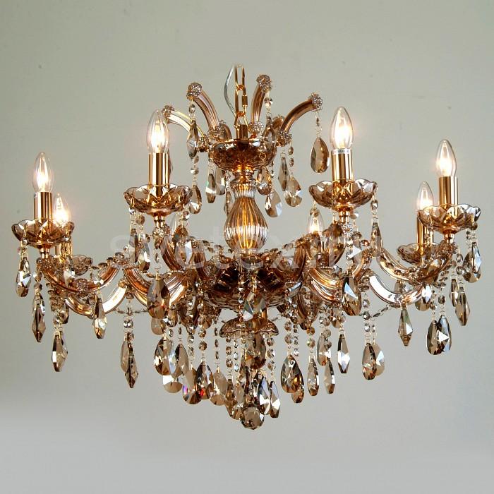 Подвесная люстра FavouriteБолее 6 ламп<br>Артикул - FV_1650-8P,Бренд - Favourite (Германия),Коллекция - Teresia,Гарантия, месяцы - 24,Высота, мм - 470-1470,Диаметр, мм - 670,Тип лампы - компактная люминесцентная [КЛЛ] ИЛИнакаливания ИЛИсветодиодная [LED],Общее кол-во ламп - 8,Напряжение питания лампы, В - 220,Максимальная мощность лампы, Вт - 40,Лампы в комплекте - отсутствуют,Цвет плафонов и подвесок - янтарный,Тип поверхности плафонов - прозрачный, рельефный,Материал плафонов и подвесок - хрусталь,Цвет арматуры - золото, янтарный,Тип поверхности арматуры - глянцевый, прозрачный,Материал арматуры - металл, стекло,Возможность подлючения диммера - можно, если установить лампу накаливания,Форма и тип колбы - свеча ИЛИ свеча на ветру,Тип цоколя лампы - E14,Класс электробезопасности - I,Общая мощность, Вт - 320,Степень пылевлагозащиты, IP - 20,Диапазон рабочих температур - комнатная температура,Дополнительные параметры - способ крепления светильника к потолку - на крюке, регулируется по высоте<br>