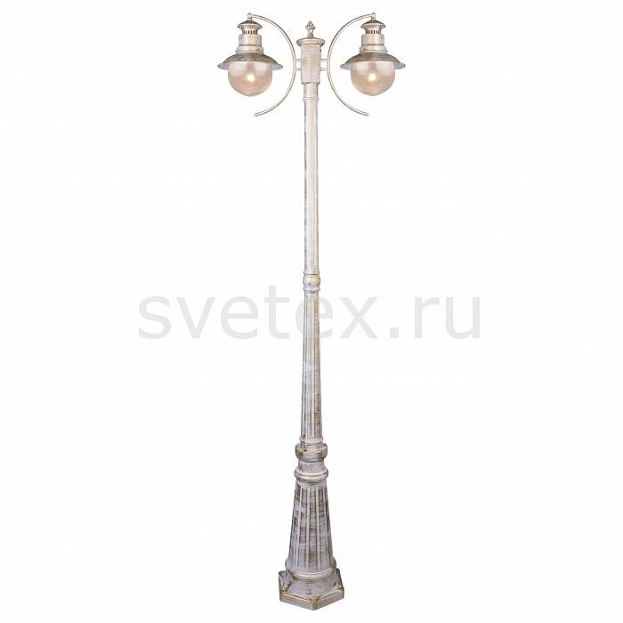 Фонарный столб Arte LampСветильники влагозащищенные<br>Артикул - AR_A1523PA-2WG,Бренд - Arte Lamp (Италия),Коллекция - Amsterdam,Гарантия, месяцы - 24,Ширина, мм - 220,Высота, мм - 2000,Выступ, мм - 630,Размер упаковки, мм - 580x550x500,Тип лампы - компактная люминесцентная [КЛЛ] ИЛИнакаливания ИЛИсветодиодная [LED],Общее кол-во ламп - 2,Напряжение питания лампы, В - 220,Максимальная мощность лампы, Вт - 60,Лампы в комплекте - отсутствуют,Цвет плафонов и подвесок - неокрашенный,Тип поверхности плафонов - прозрачный,Материал плафонов и подвесок - стекло,Цвет арматуры - белый с золотой патиной,Тип поверхности арматуры - глянцевый, матовый,Материал арматуры - металл,Количество плафонов - 2,Тип цоколя лампы - E27,Класс электробезопасности - I,Общая мощность, Вт - 120,Степень пылевлагозащиты, IP - 44,Диапазон рабочих температур - от -40^C до +40^C,Дополнительные параметры - стиль кантри<br>