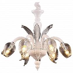 Подвесная люстра Arte Lamp5 или 6 ламп<br>Артикул - AR_A9130LM-6WH,Бренд - Arte Lamp (Италия),Коллекция - Prima,Высота, мм - 540-1200,Диаметр, мм - 650,Тип лампы - компактная люминесцентная [КЛЛ] ИЛИнакаливания ИЛИсветодиодная [LED],Общее кол-во ламп - 6,Напряжение питания лампы, В - 220,Максимальная мощность лампы, Вт - 40,Лампы в комплекте - отсутствуют,Цвет плафонов и подвесок - неокрашенный,Тип поверхности плафонов - прозрачный,Материал плафонов и подвесок - стекло,Цвет арматуры - белый, неокрашенный,Тип поверхности арматуры - глянцевый, прозрачный,Материал арматуры - металл, стекло,Возможность подлючения диммера - можно, если установить лампу накаливания,Тип цоколя лампы - E14,Класс электробезопасности - I,Общая мощность, Вт - 240,Степень пылевлагозащиты, IP - 20,Диапазон рабочих температур - комнатная температура,Дополнительные параметры - способ крепления светильника к потолку – на монтажной пластине или крюке<br>