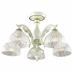 Люстра на штанге Odeon Light5 или 6 ламп<br>Артикул - OD_2947_5C,Бренд - Odeon Light (Италия),Коллекция - Sligo,Гарантия, месяцы - 24,Высота, мм - 380,Диаметр, мм - 560,Тип лампы - компактная люминесцентная [КЛЛ] ИЛИнакаливания ИЛИсветодиодная [LED],Общее кол-во ламп - 5,Напряжение питания лампы, В - 220,Максимальная мощность лампы, Вт - 60,Лампы в комплекте - отсутствуют,Цвет плафонов и подвесок - неокрашенный с рисунком,Тип поверхности плафонов - матовый,Материал плафонов и подвесок - стекло,Цвет арматуры - бежевый с золотой патиной,Тип поверхности арматуры - матовый,Материал арматуры - металл,Возможность подлючения диммера - можно, если установить лампу накаливания,Тип цоколя лампы - E27,Класс электробезопасности - I,Общая мощность, Вт - 300,Степень пылевлагозащиты, IP - 20,Диапазон рабочих температур - комнатная температура,Дополнительные параметры - способ крепления светильника на потолке - на монтажной пластине<br>