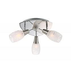 Спот GloboС 3 лампами<br>Артикул - GB_54984-3,Бренд - Globo (Австрия),Коллекция - Florita,Гарантия, месяцы - 24,Тип лампы - компактная люминесцентная [КЛЛ] ИЛИнакаливания ИЛИсветодиодная [LED],Общее кол-во ламп - 3,Напряжение питания лампы, В - 220,Максимальная мощность лампы, Вт - 40,Лампы в комплекте - отсутствуют,Цвет плафонов и подвесок - белый с неокрашенным рисунком,Тип поверхности плафонов - матовый,Материал плафонов и подвесок - стекло,Цвет арматуры - никель, хром,Тип поверхности арматуры - глянцевый, матовый,Материал арматуры - металл,Возможность подлючения диммера - можно, если установить лампу накаливания,Форма и тип колбы - свеча,Тип цоколя лампы - E14,Класс электробезопасности - I,Общая мощность, Вт - 120,Степень пылевлагозащиты, IP - 20,Диапазон рабочих температур - комнатная температура,Дополнительные параметры - поворотный светильник<br>