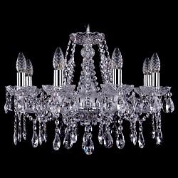Подвесная люстра Bohemia Ivele CrystalБолее 6 ламп<br>Артикул - BI_1413_8_200_Ni,Бренд - Bohemia Ivele Crystal (Чехия),Коллекция - 1413,Гарантия, месяцы - 12,Высота, мм - 410,Диаметр, мм - 590,Размер упаковки, мм - 450x450x200,Тип лампы - компактная люминесцентная [КЛЛ] ИЛИнакаливания ИЛИсветодиодная [LED],Общее кол-во ламп - 8,Напряжение питания лампы, В - 220,Максимальная мощность лампы, Вт - 40,Лампы в комплекте - отсутствуют,Цвет плафонов и подвесок - неокрашенный,Тип поверхности плафонов - прозрачный,Материал плафонов и подвесок - хрусталь,Цвет арматуры - неокрашенный, никель,Тип поверхности арматуры - глянцевый, прозрачный,Материал арматуры - металл, стекло,Возможность подлючения диммера - можно, если установить лампу накаливания,Форма и тип колбы - свеча ИЛИ свеча на ветру,Тип цоколя лампы - E14,Класс электробезопасности - I,Общая мощность, Вт - 320,Степень пылевлагозащиты, IP - 20,Диапазон рабочих температур - комнатная температура,Дополнительные параметры - способ крепления светильника к потолку – на крюке<br>