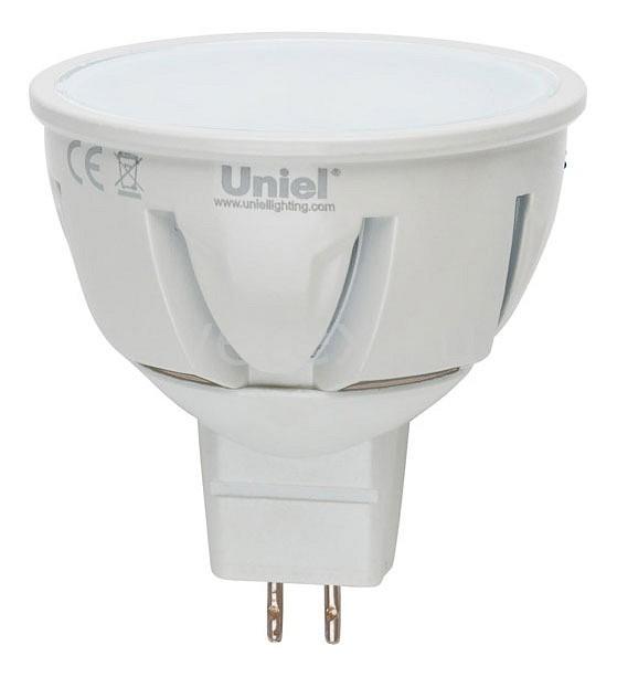 Лампа светодиодная Unielлампы энергосберегающие светодиодные<br>Артикул - UL_07912,Бренд - Uniel (Китай),Коллекция - Palazzo,Гарантия, месяцы - 36,Высота, мм - 55,Диаметр, мм - 50,Тип лампы - светодиодная (LED),Напряжение питания лампы, В - 175-265,Максимальная мощность лампы, Вт - 5,Цвет лампы - белый теплый,Форма и тип колбы - полусферическая с рефлектором,Тип цоколя лампы - GU5.3,Цветовая температура, K - 3000 K,Световой поток, лм - 450,Экономичнее лампы накаливания - в 9.2 раза,Светоотдача, лм/Вт - 90,Ресурс лампы - 30 тыс. часов,Класс электробезопасности - A<br>