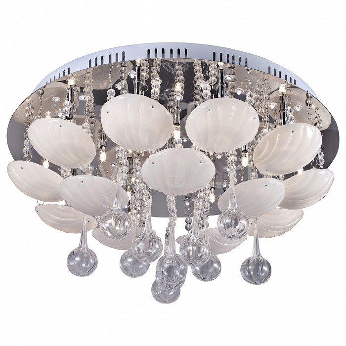Потолочная люстра ST-LuceС пультом управления<br>Артикул - SL743.102.16,Бренд - ST-Luce (Китай),Коллекция - SL743,Гарантия, месяцы - 24,Высота, мм - 250,Диаметр, мм - 500,Размер упаковки, мм - 550x550x150,Тип лампы - галогеновая,Общее кол-во ламп - 16,Напряжение питания лампы, В - 12,Максимальная мощность лампы, Вт - 20,Цвет лампы - белый теплый,Лампы в комплекте - галогеновые G4,Цвет плафонов и подвесок - белый, неокрашенный,Тип поверхности плафонов - матовый, прозрачный,Материал плафонов и подвесок - стекло, хрусталь,Цвет арматуры - хром,Тип поверхности арматуры - глянцевый,Материал арматуры - металл,Наличие выключателя, диммера или пульта ДУ - пульт ДУ,Компоненты, входящие в комплект - трансформатор 12В,Форма и тип колбы - пальчиковая,Тип цоколя лампы - G4,Цветовая температура, K - 2800 - 3200 K,Экономичнее лампы накаливания - на 50%,Класс электробезопасности - I,Напряжение питания, В - 220,Общая мощность, Вт - 320,Степень пылевлагозащиты, IP - 20,Диапазон рабочих температур - комнатная температура,Дополнительные параметры - способ крепления светильника к потолку - на монтажной пластине, декорирован светодиодами<br>