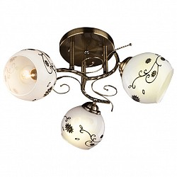 Люстра на штанге EurosvetНе более 4 ламп<br>Артикул - EV_70132,Бренд - Eurosvet (Китай),Коллекция - 9647,Гарантия, месяцы - 24,Высота, мм - 220,Диаметр, мм - 370,Тип лампы - компактная люминесцентная [КЛЛ] ИЛИнакаливания ИЛИсветодиодная [LED],Общее кол-во ламп - 3,Напряжение питания лампы, В - 220,Максимальная мощность лампы, Вт - 60,Лампы в комплекте - отсутствуют,Цвет плафонов и подвесок - белый с рисунком,Тип поверхности плафонов - матовый,Материал плафонов и подвесок - стекло,Цвет арматуры - бронза античная,Тип поверхности арматуры - матовый,Материал арматуры - металл,Возможность подлючения диммера - можно, если установить лампу накаливания,Тип цоколя лампы - E27,Класс электробезопасности - I,Общая мощность, Вт - 180,Степень пылевлагозащиты, IP - 20,Диапазон рабочих температур - комнатная температура,Дополнительные параметры - способ крепления светильника к потолку - на монтажной пластине<br>