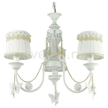 Подвесная люстра LumionСветильники<br>Артикул - LMN_3408_3,Бренд - Lumion (Италия),Коллекция - Ponso,Гарантия, месяцы - 24,Высота, мм - 420-860,Диаметр, мм - 600,Размер упаковки, мм - 200x390x260,Тип лампы - компактная люминесцентная [КЛЛ] ИЛИнакаливания ИЛИсветодиодная [LED],Общее кол-во ламп - 3,Напряжение питания лампы, В - 220,Максимальная мощность лампы, Вт - 40,Лампы в комплекте - отсутствуют,Цвет плафонов и подвесок - белый, белый с желтой каймой, неокрашенный,Тип поверхности плафонов - матовый, прозрачный,Материал плафонов и подвесок - полимер, текстиль, хрусталь,Цвет арматуры - белый,Тип поверхности арматуры - глянцевый, рельефный,Материал арматуры - металл,Количество плафонов - 3,Возможность подлючения диммера - можно, если установить лампу накаливания,Тип цоколя лампы - E14,Класс электробезопасности - I,Общая мощность, Вт - 120,Степень пылевлагозащиты, IP - 20,Диапазон рабочих температур - комнатная температура,Дополнительные параметры - способ крепления светильника к потолку - на крюке, регулируется по высоте, декоративные феи висят на золотых цепочках<br>