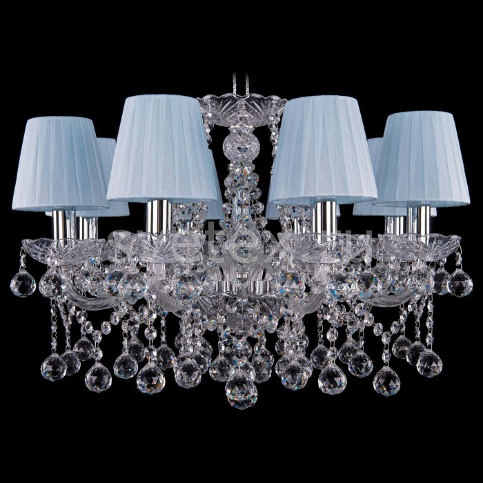 Подвесная люстра Bohemia Ivele CrystalСветильники<br>Артикул - BI_1413_8_200_Ni_Balls_SH4,Бренд - Bohemia Ivele Crystal (Чехия),Коллекция - 1413,Гарантия, месяцы - 24,Высота, мм - 400,Диаметр, мм - 570,Размер упаковки, мм - 450x450x200,Тип лампы - компактная люминесцентная [КЛЛ] ИЛИнакаливания ИЛИсветодиодная [LED],Общее кол-во ламп - 8,Напряжение питания лампы, В - 220,Максимальная мощность лампы, Вт - 40,Лампы в комплекте - отсутствуют,Цвет плафонов и подвесок - лазурь светлая, неокрашенный,Тип поверхности плафонов - матовый, прозрачный,Материал плафонов и подвесок - текстиль, хрусталь,Цвет арматуры - неокрашенный, никель,Тип поверхности арматуры - глянцевый, прозрачный, рельефный,Материал арматуры - металл, стекло,Количество плафонов - 8,Возможность подлючения диммера - можно, если установить лампу накаливания,Тип цоколя лампы - E14,Класс электробезопасности - I,Общая мощность, Вт - 320,Степень пылевлагозащиты, IP - 20,Диапазон рабочих температур - комнатная температура,Дополнительные параметры - способ крепления светильника к потолку - на крюке, указана высота светильника без подвеса<br>