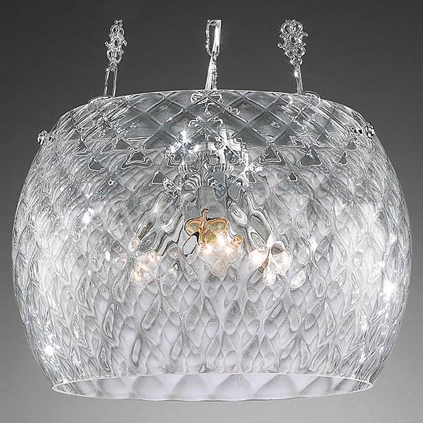 Подвесной светильник La LampadaСветодиодные<br>Артикул - LL_L.1311-3.02,Бренд - La Lampada (Италия),Коллекция - 1311,Гарантия, месяцы - 24,Высота, мм - 290,Диаметр, мм - 400,Тип лампы - компактная люминесцентная [КЛЛ] ИЛИнакаливания ИЛИсветодиодная [LED],Общее кол-во ламп - 3,Напряжение питания лампы, В - 220,Максимальная мощность лампы, Вт - 75,Лампы в комплекте - отсутствуют,Цвет плафонов и подвесок - неокрашенный,Тип поверхности плафонов - прозрачный, рельефный,Материал плафонов и подвесок - стекло,Цвет арматуры - хром,Тип поверхности арматуры - матовый, рельефный,Материал арматуры - металл,Количество плафонов - 1,Возможность подлючения диммера - можно, если установить лампу накаливания,Тип цоколя лампы - E27,Класс электробезопасности - I,Общая мощность, Вт - 225,Степень пылевлагозащиты, IP - 20,Диапазон рабочих температур - комнатная температура,Дополнительные параметры - способ крепления светильника к потолку – на крюке, регулируется по высоте<br>