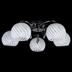 Потолочная люстра Eurosvet5 или 6 ламп<br>Артикул - EV_7159,Бренд - Eurosvet (Китай),Коллекция - 7769,Гарантия, месяцы - 24,Высота, мм - 180,Диаметр, мм - 560,Тип лампы - компактная люминесцентная [КЛЛ] ИЛИнакаливания ИЛИсветодиодная [LED],Общее кол-во ламп - 5,Напряжение питания лампы, В - 220,Максимальная мощность лампы, Вт - 60,Лампы в комплекте - отсутствуют,Цвет плафонов и подвесок - белый полосатый, дымчатый,Тип поверхности плафонов - матовый, прозрачный,Материал плафонов и подвесок - стекло, хрусталь,Цвет арматуры - черный жемчуг,Тип поверхности арматуры - глянцевый,Материал арматуры - металл,Тип цоколя лампы - E27,Класс электробезопасности - I,Общая мощность, Вт - 300,Степень пылевлагозащиты, IP - 20,Диапазон рабочих температур - комнатная температура<br>