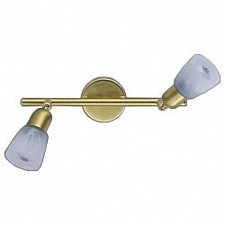 Спот De MarktС 2 лампами<br>Артикул - MW_504020702,Бренд - De Markt (Германия),Коллекция - Мона,Гарантия, месяцы - 24,Размер упаковки, мм - 400х130х100,Тип лампы - компактная люминесцентная [КЛЛ] ИЛИнакаливания ИЛИсветодиодная [LED],Общее кол-во ламп - 2,Напряжение питания лампы, В - 220,Максимальная мощность лампы, Вт - 40,Лампы в комплекте - отсутствуют,Цвет плафонов и подвесок - белый,Тип поверхности плафонов - матовый,Материал плафонов и подвесок - стекло,Цвет арматуры - золото,Тип поверхности арматуры - матовый,Материал арматуры - металл,Возможность подлючения диммера - можно, если установить лампу накаливания,Форма и тип колбы - груша плоская с рефлектором ИЛИполусферическая с рефлектором,Тип цоколя лампы - E14,Класс электробезопасности - I,Общая мощность, Вт - 80,Степень пылевлагозащиты, IP - 20,Диапазон рабочих температур - комнатная температура,Дополнительные параметры - поворотный светильник, рефлекторная лампа R50 (диаметр колбы 50 мм) или аналоги<br>