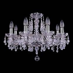 Подвесная люстра Bohemia Ivele CrystalБолее 6 ламп<br>Артикул - BI_1410_8_195_Ni_V0300,Бренд - Bohemia Ivele Crystal (Чехия),Коллекция - 1410,Гарантия, месяцы - 24,Высота, мм - 410,Диаметр, мм - 580,Размер упаковки, мм - 450x450x200,Тип лампы - компактная люминесцентная [КЛЛ] ИЛИнакаливания ИЛИсветодиодная [LED],Общее кол-во ламп - 8,Напряжение питания лампы, В - 220,Максимальная мощность лампы, Вт - 40,Лампы в комплекте - отсутствуют,Цвет плафонов и подвесок - белый, неокрашенный,Тип поверхности плафонов - матовый, прозрачный,Материал плафонов и подвесок - хрусталь,Цвет арматуры - неокрашенный, никель,Тип поверхности арматуры - глянцевый, прозрачный, рельефный,Материал арматуры - металл, стекло,Возможность подлючения диммера - можно, если установить лампу накаливания,Форма и тип колбы - свеча ИЛИ свеча на ветру,Тип цоколя лампы - E14,Класс электробезопасности - I,Общая мощность, Вт - 320,Степень пылевлагозащиты, IP - 20,Диапазон рабочих температур - комнатная температура,Дополнительные параметры - способ крепления светильника к потолку - на крюке, указана высота светильника без подвеса<br>
