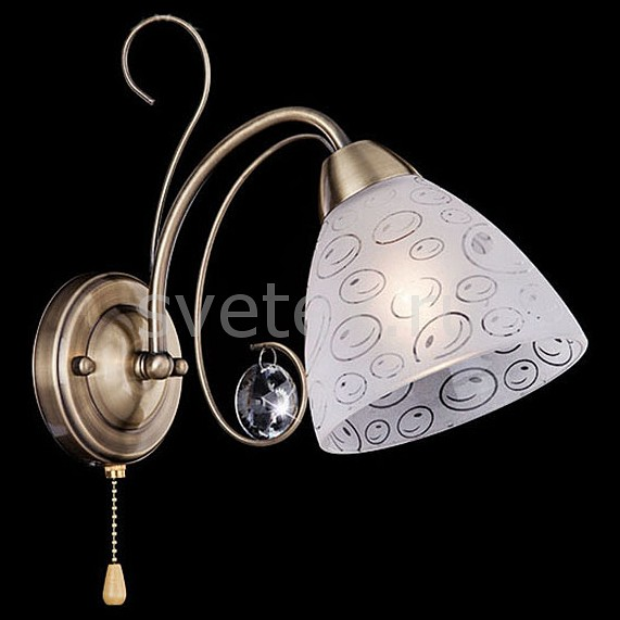 Бра EurosvetНастенные светильники<br>Артикул - EV_74068,Бренд - Eurosvet (Китай),Коллекция - 60011,Гарантия, месяцы - 24,Ширина, мм - 180,Высота, мм - 200,Выступ, мм - 140,Тип лампы - компактная люминесцентная [КЛЛ] ИЛИнакаливания ИЛИсветодиодная [LED],Общее кол-во ламп - 1,Напряжение питания лампы, В - 220,Максимальная мощность лампы, Вт - 60,Лампы в комплекте - отсутствуют,Цвет плафонов и подвесок - белый с рисунком, неокрашенный,Тип поверхности плафонов - матовый, прозрачный,Материал плафонов и подвесок - стекло, хрусталь,Цвет арматуры - бронза античная,Тип поверхности арматуры - матовый,Материал арматуры - металл,Количество плафонов - 1,Наличие выключателя, диммера или пульта ДУ - выключатель шнуровой,Возможность подлючения диммера - можно, если установить лампу накаливания,Тип цоколя лампы - E14,Класс электробезопасности - I,Степень пылевлагозащиты, IP - 20,Диапазон рабочих температур - комнатная температура,Дополнительные параметры - способ крепления светильника на стене – на монтажной пластине, светильник предназначен для использования со скрытой проводкой<br>