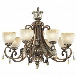 Подвесная люстра Odeon LightБолее 6 ламп<br>Артикул - OD_2455_8,Бренд - Odeon Light (Италия),Коллекция - Ruffin,Гарантия, месяцы - 24,Время изготовления, дней - 1,Высота, мм - 660,Диаметр, мм - 880,Тип лампы - компактная люминесцентная [КЛЛ] ИЛИнакаливания ИЛИсветодиодная [LED],Общее кол-во ламп - 8,Напряжение питания лампы, В - 220,Максимальная мощность лампы, Вт - 60,Лампы в комплекте - отсутствуют,Цвет плафонов и подвесок - бежевый, неокрашенный,Тип поверхности плафонов - матовый,Материал плафонов и подвесок - стекло, хрусталь,Цвет арматуры - коричневый,Тип поверхности арматуры - глянцевый, рельефный,Материал арматуры - металл, полиэфирная смола под камень или керамику,Возможность подлючения диммера - можно, если установить лампу накаливания,Тип цоколя лампы - E27,Класс электробезопасности - I,Общая мощность, Вт - 480,Степень пылевлагозащиты, IP - 20,Диапазон рабочих температур - комнатная температура,Дополнительные параметры - указана высота светильника без подвеса<br>