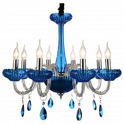 Подвесная люстра ST-LuceБолее 6 ламп<br>Артикул - SL653.803.08,Бренд - ST-Luce (Китай),Коллекция - Lazuli,Гарантия, месяцы - 24,Высота, мм - 780-1380,Диаметр, мм - 520,Размер упаковки, мм - 760х600х280,Тип лампы - компактная люминесцентная [КЛЛ] ИЛИнакаливания ИЛИсветодиодная [LED],Общее кол-во ламп - 8,Напряжение питания лампы, В - 220,Максимальная мощность лампы, Вт - 40,Лампы в комплекте - отсутствуют,Цвет плафонов и подвесок - голубой,Тип поверхности плафонов - прозрачный,Материал плафонов и подвесок - хрусталь,Цвет арматуры - голубой, неокрашенный, хром, черный,Тип поверхности арматуры - глянцевый, металлик, прозрачный,Материал арматуры - металл, стекло,Возможность подлючения диммера - можно, если установить лампу накаливания,Форма и тип колбы - свеча ИЛИ свеча на ветру,Тип цоколя лампы - E14,Класс электробезопасности - I,Общая мощность, Вт - 320,Степень пылевлагозащиты, IP - 20,Диапазон рабочих температур - комнатная температура,Дополнительные параметры - регулируется по высоте,  способ крепления светильника к потолку – на крюке<br>