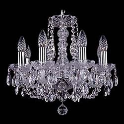 Подвесная люстра Bohemia Ivele CrystalБолее 6 ламп<br>Артикул - BI_1406_8_141_Ni,Бренд - Bohemia Ivele Crystal (Чехия),Коллекция - 1406,Гарантия, месяцы - 24,Высота, мм - 410,Диаметр, мм - 460,Размер упаковки, мм - 450x450x200,Тип лампы - компактная люминесцентная [КЛЛ] ИЛИнакаливания ИЛИсветодиодная [LED],Общее кол-во ламп - 8,Напряжение питания лампы, В - 220,Максимальная мощность лампы, Вт - 40,Лампы в комплекте - отсутствуют,Цвет плафонов и подвесок - неокрашенный,Тип поверхности плафонов - прозрачный,Материал плафонов и подвесок - хрусталь,Цвет арматуры - неокрашенный, никель,Тип поверхности арматуры - глянцевый, прозрачный,Материал арматуры - металл, стекло,Возможность подлючения диммера - можно, если установить лампу накаливания,Форма и тип колбы - свеча,Тип цоколя лампы - E14,Класс электробезопасности - I,Общая мощность, Вт - 320,Степень пылевлагозащиты, IP - 20,Диапазон рабочих температур - комнатная температура,Дополнительные параметры - способ крепления светильника к потолку – на крюке<br>