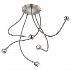 Накладной светильник GloboСветодиодные<br>Артикул - GB_24109-5D,Бренд - Globo (Австрия),Коллекция - Serpent,Гарантия, месяцы - 24,Высота, мм - 450,Диаметр, мм - 790,Тип лампы - светодиодная [LED],Общее кол-во ламп - 5,Напряжение питания лампы, В - 3.6,Максимальная мощность лампы, Вт - 3,Лампы в комплекте - светодиодные [LED],Цвет плафонов и подвесок - неокрашенный, хром,Тип поверхности плафонов - глянцевый, прозрачный,Материал плафонов и подвесок - акрил, металл,Цвет арматуры - никель, хром,Тип поверхности арматуры - глянцевый,Материал арматуры - металл,Возможность подлючения диммера - нельзя,Класс электробезопасности - I,Общая мощность, Вт - 15,Степень пылевлагозащиты, IP - 20,Диапазон рабочих температур - комнатная температура,Дополнительные параметры - поворотный светильник<br>