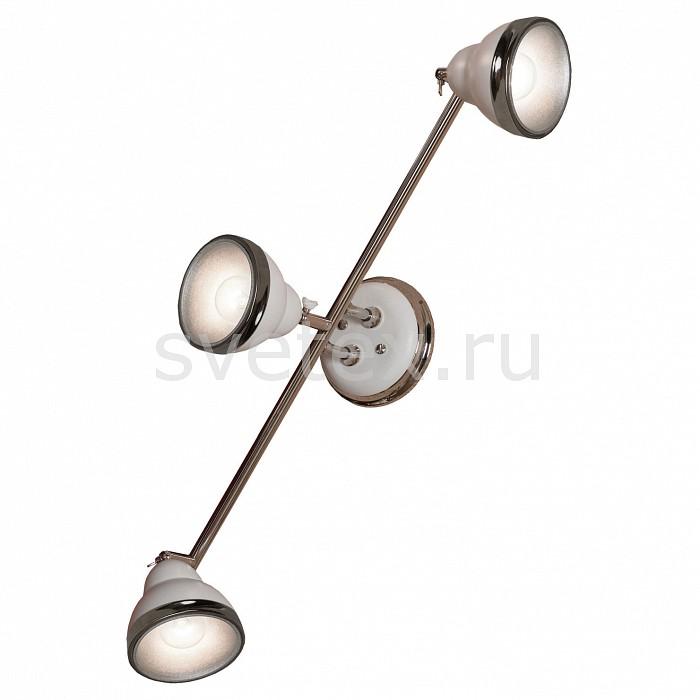 Спот LussoleСпоты<br>Артикул - LSN-6201-03,Бренд - Lussole (Италия),Коллекция - LSN-62,Гарантия, месяцы - 24,Время изготовления, дней - 1,Длина, мм - 580,Ширина, мм - 190,Выступ, мм - 230,Тип лампы - компактная люминесцентная [КЛЛ] ИЛИнакаливания ИЛИсветодиодная [LED],Общее кол-во ламп - 3,Напряжение питания лампы, В - 220,Максимальная мощность лампы, Вт - 40,Лампы в комплекте - отсутствуют,Цвет плафонов и подвесок - белый с  хромированой каймой,Тип поверхности плафонов - глянцевый, матовый,Материал плафонов и подвесок - металл,Цвет арматуры - белый, хром,Тип поверхности арматуры - глянцевый, матовый,Материал арматуры - металл,Количество плафонов - 3,Возможность подлючения диммера - можно, если установить лампу накаливания,Тип цоколя лампы - E14,Класс электробезопасности - I,Общая мощность, Вт - 120,Степень пылевлагозащиты, IP - 20,Диапазон рабочих температур - комнатная температура,Дополнительные параметры - поворотный светильник, способ крепления светильника на потолке и стене – на монтажной пластине<br>