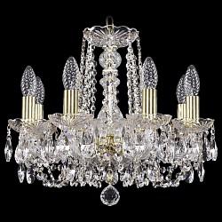 Подвесная люстра Bohemia Ivele CrystalБолее 6 ламп<br>Артикул - BI_1402_8_141_G,Бренд - Bohemia Ivele Crystal (Чехия),Коллекция - 1402,Гарантия, месяцы - 24,Высота, мм - 410,Диаметр, мм - 460,Размер упаковки, мм - 450x450x200,Тип лампы - компактная люминесцентная [КЛЛ] ИЛИнакаливания ИЛИсветодиодная [LED],Общее кол-во ламп - 8,Напряжение питания лампы, В - 220,Максимальная мощность лампы, Вт - 40,Лампы в комплекте - отсутствуют,Цвет плафонов и подвесок - неокрашенный,Тип поверхности плафонов - прозрачный,Материал плафонов и подвесок - хрусталь,Цвет арматуры - золото, неокрашенный,Тип поверхности арматуры - глянцевый, прозрачный,Материал арматуры - металл, стекло,Возможность подлючения диммера - можно, если установить лампу накаливания,Форма и тип колбы - свеча,Тип цоколя лампы - E14,Класс электробезопасности - I,Общая мощность, Вт - 320,Степень пылевлагозащиты, IP - 20,Диапазон рабочих температур - комнатная температура,Дополнительные параметры - способ крепления светильника к потолку – на крюке<br>