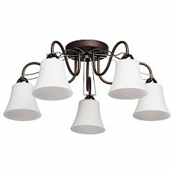 Потолочная люстра MW-Light5 или 6 ламп<br>Артикул - MW_324013105,Бренд - MW-Light (Германия),Коллекция - Альфа 3,Гарантия, месяцы - 12,Высота, мм - 250,Диаметр, мм - 610,Размер упаковки, мм - 470x410x160,Тип лампы - компактная люминесцентная [КЛЛ] ИЛИнакаливания ИЛИсветодиодная [LED],Общее кол-во ламп - 5,Напряжение питания лампы, В - 220,Максимальная мощность лампы, Вт - 60,Лампы в комплекте - отсутствуют,Цвет плафонов и подвесок - белый,Тип поверхности плафонов - матовый,Материал плафонов и подвесок - стекло,Цвет арматуры - кофе,Тип поверхности арматуры - матовый,Материал арматуры - металл,Возможность подлючения диммера - можно, если установить лампу накаливания,Тип цоколя лампы - E14,Класс электробезопасности - I,Общая мощность, Вт - 300,Степень пылевлагозащиты, IP - 20,Диапазон рабочих температур - комнатная температура,Дополнительные параметры - способ крепления светильника к потолку – на монтажной пластине<br>