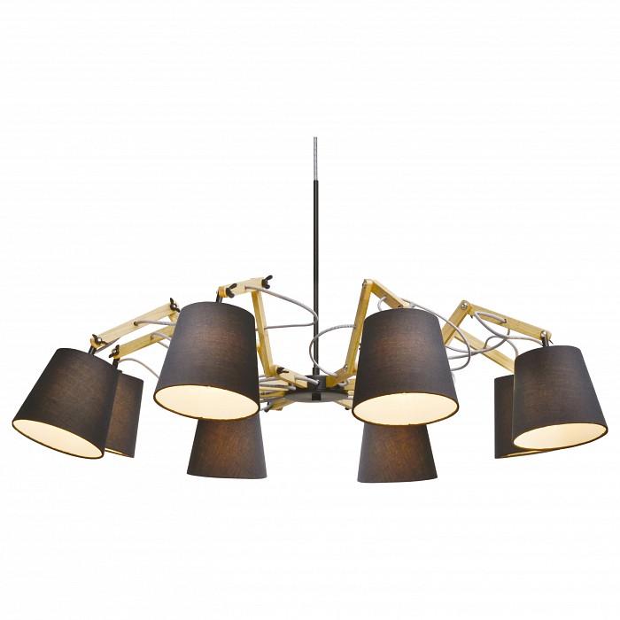 Подвесная люстра Arte LampСветильники<br>Артикул - AR_A5700LM-8BK,Бренд - Arte Lamp (Италия),Коллекция - Pinocchio,Время изготовления, дней - 1,Высота, мм - 560-1200,Диаметр, мм - 950,Тип лампы - компактная люминесцентная [КЛЛ] ИЛИнакаливания ИЛИсветодиодная [LED],Общее кол-во ламп - 8,Напряжение питания лампы, В - 220,Максимальная мощность лампы, Вт - 40,Лампы в комплекте - отсутствуют,Цвет плафонов и подвесок - черный,Тип поверхности плафонов - матовый,Материал плафонов и подвесок - текстиль,Цвет арматуры - бежевый, коричневый,Тип поверхности арматуры - глянцевый, матовый,Материал арматуры - МДФ, металл,Количество плафонов - 8,Возможность подлючения диммера - можно, если установить лампу накаливания,Тип цоколя лампы - E14,Класс электробезопасности - I,Общая мощность, Вт - 320,Степень пылевлагозащиты, IP - 20,Диапазон рабочих температур - комнатная температура,Дополнительные параметры - способ крепления светильника к потолку – на монтажной пластине<br>