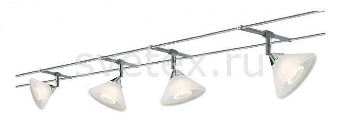 Комплект PaulmannСтрунные светильники<br>Артикул - PA_97182,Бренд - Paulmann (Германия),Коллекция - Colmar,Гарантия, месяцы - 24,Длина, мм - 10000,Ширина, мм - 160,Тип лампы - галогеновая,Общее кол-во ламп - 4,Напряжение питания лампы, В - 220,Максимальная мощность лампы, Вт - 35,Лампы в комплекте - галогеновые GU4,Цвет плафонов и подвесок - белый,Тип поверхности плафонов - матовый,Материал плафонов и подвесок - стекло,Цвет арматуры - хром,Тип поверхности арматуры - глянцевый,Материал арматуры - металл,Количество плафонов - 4,Форма и тип колбы - полусферическая с рефлектором,Тип цоколя лампы - GU4,Световой поток, лм - 2128,Экономичнее лампы накаливания - На 50%,Светоотдача, лм/Вт - 15,Класс электробезопасности - I,Общая мощность, Вт - 140,Степень пылевлагозащиты, IP - 20,Диапазон рабочих температур - комнатная температура,Дополнительные параметры - расстояние между струнами 160 мм<br>