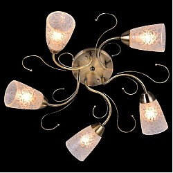 Потолочная люстра Оптима5 или 6 ламп<br>Артикул - EV_76591,Бренд - Оптима (Китай),Коллекция - Фиджи,Гарантия, месяцы - 24,Высота, мм - 200,Диаметр, мм - 540,Тип лампы - компактная люминесцентная [КЛЛ] ИЛИнакаливания ИЛИсветодиодная [LED],Общее кол-во ламп - 5,Напряжение питания лампы, В - 220,Максимальная мощность лампы, Вт - 60,Лампы в комплекте - отсутствуют,Цвет плафонов и подвесок - белый с неокрашенным рисунком,Тип поверхности плафонов - матовый,Материал плафонов и подвесок - стекло,Цвет арматуры - бронза античная,Тип поверхности арматуры - матовый,Материал арматуры - металл,Возможность подлючения диммера - можно, если установить лампу накаливания,Тип цоколя лампы - E14,Класс электробезопасности - I,Общая мощность, Вт - 300,Степень пылевлагозащиты, IP - 20,Диапазон рабочих температур - комнатная температура,Дополнительные параметры - способ крепления светильника к потолку - на монтажной пластине<br>