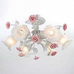 Люстра на штанге Lucia Tucci5 или 6 ламп<br>Артикул - LT_Fiori_di_rose_114.6,Бренд - Lucia Tucci (Италия),Коллекция - Fiori di rose,Гарантия, месяцы - 24,Высота, мм - 400,Диаметр, мм - 650,Тип лампы - компактная люминесцентная [КЛЛ] ИЛИнакаливания ИЛИсветодиодная [LED],Общее кол-во ламп - 6,Напряжение питания лампы, В - 220,Максимальная мощность лампы, Вт - 60,Лампы в комплекте - отсутствуют,Цвет плафонов и подвесок - белый,Тип поверхности плафонов - матовый,Материал плафонов и подвесок - стекло,Цвет арматуры - белый, розовый,Тип поверхности арматуры - матовый,Материал арматуры - керамика, металл,Возможность подлючения диммера - можно, если установить лампу накаливания,Тип цоколя лампы - E27,Класс электробезопасности - I,Общая мощность, Вт - 360,Степень пылевлагозащиты, IP - 20,Диапазон рабочих температур - комнатная температура,Дополнительные параметры - способ крепления светильника к потолку – на монтажной пластине<br>