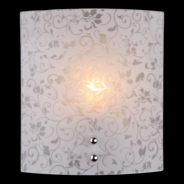 Накладной светильник EurosvetСветодиодные<br>Артикул - EV_60799,Бренд - Eurosvet (Китай),Коллекция - 2761,Гарантия, месяцы - 24,Ширина, мм - 170,Высота, мм - 190,Выступ, мм - 80,Тип лампы - компактная люминесцентная [КЛЛ] ИЛИнакаливания ИЛИсветодиодная [LED],Общее кол-во ламп - 1,Напряжение питания лампы, В - 220,Максимальная мощность лампы, Вт - 60,Лампы в комплекте - отсутствуют,Цвет плафонов и подвесок - белый с неокрашенным рисунком,Тип поверхности плафонов - матовый, прозрачный,Материал плафонов и подвесок - стекло,Цвет арматуры - хром,Тип поверхности арматуры - глянцевый,Материал арматуры - металл,Количество плафонов - 1,Возможность подлючения диммера - можно, если установить лампу накаливания,Тип цоколя лампы - E27,Класс электробезопасности - I,Степень пылевлагозащиты, IP - 20,Диапазон рабочих температур - комнатная температура,Дополнительные параметры - способ крепления светильника на стене – на монтажной пластине, светильник предназначен для использования со скрытой проводкой<br>