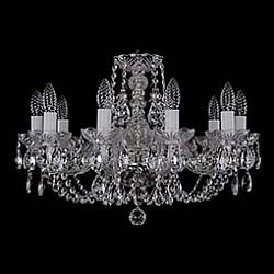 Подвесная люстра Bohemia Ivele CrystalБолее 6 ламп<br>Артикул - BI_1406_10_195_Ni,Бренд - Bohemia Ivele Crystal (Чехия),Коллекция - 1406,Гарантия, месяцы - 24,Высота, мм - 410,Диаметр, мм - 580,Размер упаковки, мм - 510x510x200,Тип лампы - компактная люминесцентная [КЛЛ] ИЛИнакаливания ИЛИсветодиодная [LED],Общее кол-во ламп - 10,Напряжение питания лампы, В - 220,Максимальная мощность лампы, Вт - 40,Лампы в комплекте - отсутствуют,Цвет плафонов и подвесок - неокрашенный,Тип поверхности плафонов - прозрачный,Материал плафонов и подвесок - хрусталь,Цвет арматуры - неокрашенный, никель,Тип поверхности арматуры - глянцевый, прозрачный,Материал арматуры - металл, стекло,Возможность подлючения диммера - можно, если установить лампу накаливания,Форма и тип колбы - свеча,Тип цоколя лампы - E14,Класс электробезопасности - I,Общая мощность, Вт - 400,Степень пылевлагозащиты, IP - 20,Диапазон рабочих температур - комнатная температура,Дополнительные параметры - способ крепления светильника к потолку – на крюке<br>