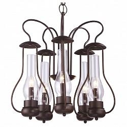 Подвесная люстра Arte Lamp5 или 6 ламп<br>Артикул - AR_A8955LM-5BR,Бренд - Arte Lamp (Италия),Коллекция - Bulbo,Высота, мм - 570-1120,Диаметр, мм - 550,Тип лампы - компактная люминесцентная [КЛЛ] ИЛИнакаливания ИЛИсветодиодная [LED],Общее кол-во ламп - 5,Напряжение питания лампы, В - 220,Максимальная мощность лампы, Вт - 40,Лампы в комплекте - отсутствуют,Цвет плафонов и подвесок - неокрашенный,Тип поверхности плафонов - прозрачный,Материал плафонов и подвесок - стекло,Цвет арматуры - коричневый,Тип поверхности арматуры - матовый,Материал арматуры - металл,Возможность подлючения диммера - можно, если установить лампу накаливания,Форма и тип колбы - свеча,Тип цоколя лампы - E14,Класс электробезопасности - I,Общая мощность, Вт - 200,Степень пылевлагозащиты, IP - 20,Диапазон рабочих температур - комнатная температура,Дополнительные параметры - способ крепления светильника к потолку – на монтажной пластине или крюке<br>