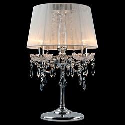 Настольная лампа StrotskisНастольные лампы<br>Артикул - EV_5567,Бренд - Strotskis (Китай),Коллекция - 2045,Гарантия, месяцы - 24,Высота, мм - 480,Диаметр, мм - 300,Тип лампы - компактная люминесцентная [КЛЛ] ИЛИнакаливания ИЛИсветодиодная [LED],Общее кол-во ламп - 3,Напряжение питания лампы, В - 220,Максимальная мощность лампы, Вт - 60,Лампы в комплекте - отсутствуют,Цвет плафонов и подвесок - белый, неокрашенный,Тип поверхности плафонов - прозрачный,Материал плафонов и подвесок - нить, хрусталь,Цвет арматуры - хром, неокрашенный,Тип поверхности арматуры - глянцевый,Материал арматуры - металл, хрусталь,Тип цоколя лампы - E14,Класс электробезопасности - II,Общая мощность, Вт - 180,Степень пылевлагозащиты, IP - 20,Диапазон рабочих температур - комнатная температура,Дополнительные параметры - провод электропитания с вилкой без заземления<br>