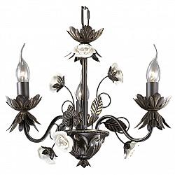 Подвесная люстра Odeon LightНе более 4 ламп<br>Артикул - OD_2695_3,Бренд - Odeon Light (Италия),Коллекция - Silva,Гарантия, месяцы - 24,Высота, мм - 340,Диаметр, мм - 450,Тип лампы - компактная люминесцентная [КЛЛ] ИЛИнакаливания ИЛИсветодиодная [LED],Общее кол-во ламп - 3,Напряжение питания лампы, В - 220,Максимальная мощность лампы, Вт - 60,Лампы в комплекте - отсутствуют,Цвет арматуры - белый, золото, коричневый,Тип поверхности арматуры - глянцевый,Материал арматуры - металл, керамика,Возможность подлючения диммера - можно, если установить лампу накаливания,Форма и тип колбы - свеча ИЛИ свеча на ветру,Тип цоколя лампы - E14,Класс электробезопасности - I,Общая мощность, Вт - 180,Степень пылевлагозащиты, IP - 20,Диапазон рабочих температур - комнатная температура,Дополнительные параметры - указана высота светильника без подвеса<br>