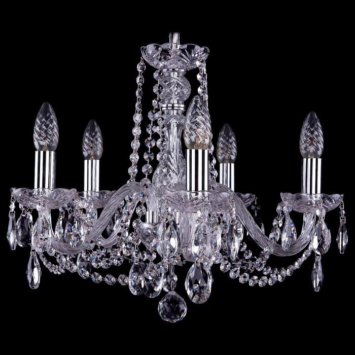 Подвесная люстра Bohemia Ivele Crystal5 или 6 ламп<br>Артикул - BI_1402_5_160_Ni,Бренд - Bohemia Ivele Crystal (Чехия),Коллекция - 1402,Гарантия, месяцы - 24,Высота, мм - 410,Диаметр, мм - 490,Размер упаковки, мм - 450x450x200,Тип лампы - компактная люминесцентная [КЛЛ] ИЛИнакаливания ИЛИсветодиодная [LED],Общее кол-во ламп - 5,Напряжение питания лампы, В - 220,Максимальная мощность лампы, Вт - 40,Лампы в комплекте - отсутствуют,Цвет плафонов и подвесок - неокрашенный,Тип поверхности плафонов - прозрачный,Материал плафонов и подвесок - хрусталь,Цвет арматуры - неокрашенный, никель,Тип поверхности арматуры - глянцевый, прозрачный, рельефный,Материал арматуры - металл, стекло,Возможность подлючения диммера - можно, если установить лампу накаливания,Форма и тип колбы - свеча ИЛИ свеча на ветру,Тип цоколя лампы - E14,Класс электробезопасности - I,Общая мощность, Вт - 200,Степень пылевлагозащиты, IP - 20,Диапазон рабочих температур - комнатная температура,Дополнительные параметры - способ крепления светильника к потолку - на крюке, указана высота светильника без подвеса<br>