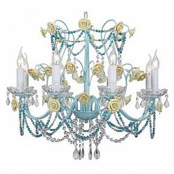 Подвесная люстра ST-LuceБолее 6 ламп<br>Артикул - SL697.703.08,Бренд - ST-Luce (Китай),Коллекция - Sonno,Гарантия, месяцы - 24,Высота, мм - 1100,Размер упаковки, мм - 430x300x240,Тип лампы - компактная люминесцентная [КЛЛ] ИЛИнакаливания ИЛИсветодиодная [LED],Общее кол-во ламп - 8,Максимальная мощность лампы, Вт - 60,Лампы в комплекте - отсутствуют,Цвет плафонов и подвесок - голубой, неокрашенный,Тип поверхности плафонов - прозрачный,Материал плафонов и подвесок - хрусталь,Цвет арматуры - желтый, голубой,Тип поверхности арматуры - матовый,Материал арматуры - металл,Возможность подлючения диммера - можно, если установить лампу накаливания,Форма и тип колбы - свеча ИЛИ свеча на ветру,Тип цоколя лампы - E14,Класс электробезопасности - I,Общая мощность, Вт - 480,Степень пылевлагозащиты, IP - 20,Диапазон рабочих температур - комнатная температура,Дополнительные параметры - способ крепления к потолку - на монтажной пластине, регулируется по высоте<br>