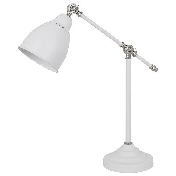 Настольная лампа офисная Odeon LightНастольные лампы для школьника<br>Артикул - OD_3372_1T,Бренд - Odeon Light (Италия),Коллекция - Cruz,Гарантия, месяцы - 24,Высота, мм - 340-450,Диаметр, мм - 175,Тип лампы - компактная люминесцентная [КЛЛ] ИЛИнакаливания ИЛИсветодиодная [LED],Общее кол-во ламп - 1,Напряжение питания лампы, В - 220,Максимальная мощность лампы, Вт - 60,Лампы в комплекте - отсутствуют,Цвет плафонов и подвесок - белый,Тип поверхности плафонов - матовый,Материал плафонов и подвесок - металл,Цвет арматуры - белый,Тип поверхности арматуры - матовый,Материал арматуры - металл,Количество плафонов - 1,Наличие выключателя, диммера или пульта ДУ - выключатель на проводе,Компоненты, входящие в комплект - провод электропитания с вилкой без заземления,Тип цоколя лампы - E27,Класс электробезопасности - II,Степень пылевлагозащиты, IP - 20,Диапазон рабочих температур - комнатная температура,Дополнительные параметры - поворотный светильник, регулируется по высоте<br>