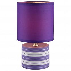 Настольная лампа GloboС абажуром<br>Артикул - GB_21661,Бренд - Globo (Австрия),Коллекция - Laurie,Гарантия, месяцы - 24,Высота, мм - 260,Диаметр, мм - 140,Размер упаковки, мм - 150x150x165,Тип лампы - компактная люминесцентная [КЛЛ] ИЛИнакаливания ИЛИсветодиодная [LED],Общее кол-во ламп - 1,Напряжение питания лампы, В - 220,Максимальная мощность лампы, Вт - 40,Лампы в комплекте - отсутствуют,Цвет плафонов и подвесок - фиолетовый,Тип поверхности плафонов - матовый,Материал плафонов и подвесок - текстиль,Цвет арматуры - разноцветный полосатый: белый, фиолетовый,Тип поверхности арматуры - матовый,Материал арматуры - керамика, металл, полимер,Тип цоколя лампы - E14,Класс электробезопасности - II,Степень пылевлагозащиты, IP - 20,Диапазон рабочих температур - комнатная температура<br>
