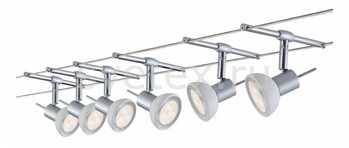 Комплект PaulmannСтрунные светильники<br>Артикул - PA_94123,Бренд - Paulmann (Германия),Коллекция - 9412,Гарантия, месяцы - 24,Длина, мм - 10000,Ширина, мм - 160,Тип лампы - светодиодная [LED],Общее кол-во ламп - 6,Напряжение питания лампы, В - 220,Максимальная мощность лампы, Вт - 4,Цвет лампы - белый,Лампы в комплекте - светодиодные [LED] GU5.3,Цвет плафонов и подвесок - белый,Тип поверхности плафонов - матовый,Материал плафонов и подвесок - стекло,Цвет арматуры - хром,Тип поверхности арматуры - глянцевый,Материал арматуры - металл,Количество плафонов - 6,Форма и тип колбы - полусферическая с рефлектором,Тип цоколя лампы - GU5.3,Цветовая температура, K - 4000 K,Класс электробезопасности - II,Общая мощность, Вт - 24,Степень пылевлагозащиты, IP - 20,Диапазон рабочих температур - комнатная температура,Дополнительные параметры - расстояние между струнами 160 мм<br>