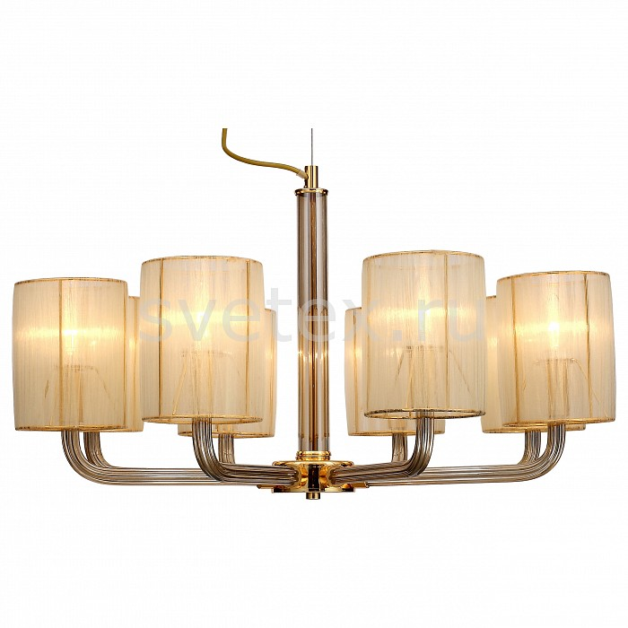 Подвесная люстра FavouriteСветильники<br>Артикул - FV_1860-8P,Бренд - Favourite (Германия),Коллекция - Birra,Гарантия, месяцы - 24,Высота, мм - 410-1410,Диаметр, мм - 740,Тип лампы - компактная люминесцентная [КЛЛ] ИЛИнакаливания ИЛИсветодиодная [LED],Общее кол-во ламп - 8,Напряжение питания лампы, В - 220,Максимальная мощность лампы, Вт - 40,Лампы в комплекте - отсутствуют,Цвет плафонов и подвесок - янтарный,Тип поверхности плафонов - матовый,Материал плафонов и подвесок - текстиль,Цвет арматуры - золото, янтарный,Тип поверхности арматуры - глянцевый, прозрачный,Материал арматуры - металл, стекло,Количество плафонов - 8,Возможность подлючения диммера - можно, если установить лампу накаливания,Тип цоколя лампы - E14,Класс электробезопасности - I,Общая мощность, Вт - 320,Степень пылевлагозащиты, IP - 20,Диапазон рабочих температур - комнатная температура,Дополнительные параметры - способ крепления светильника к потолку - на крюке, регулируется по высоте<br>