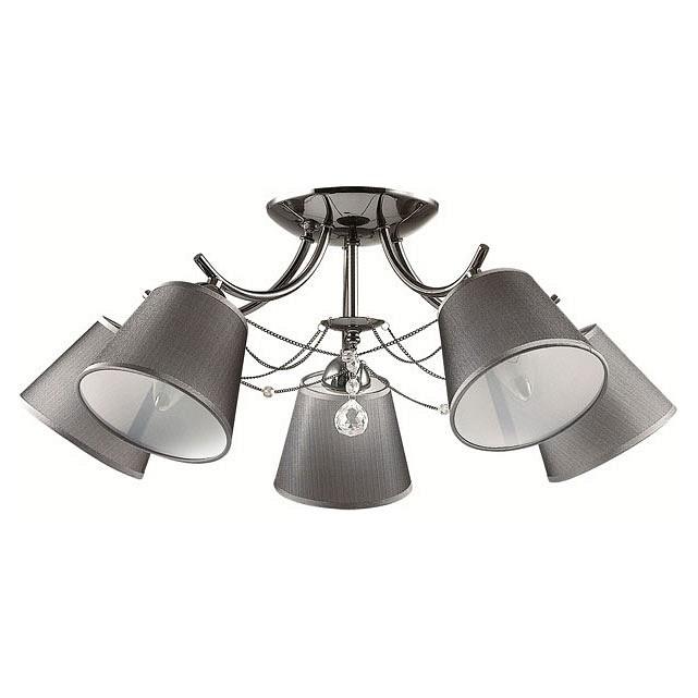Потолочная люстра LumionСветильники<br>Артикул - LMN_2974_5C,Бренд - Lumion (Италия),Коллекция - Porta,Гарантия, месяцы - 24,Высота, мм - 260,Диаметр, мм - 640,Размер упаковки, мм - 170x310x220,Тип лампы - компактная люминесцентная [КЛЛ] ИЛИнакаливания ИЛИсветодиодная [LED],Общее кол-во ламп - 5,Напряжение питания лампы, В - 220,Максимальная мощность лампы, Вт - 40,Лампы в комплекте - отсутствуют,Цвет плафонов и подвесок - кофе с каймой, неокрашенный,Тип поверхности плафонов - матовый, прозрачный,Материал плафонов и подвесок - текстиль, хрусталь,Цвет арматуры - хром,Тип поверхности арматуры - глянцевый,Материал арматуры - металл,Количество плафонов - 5,Возможность подлючения диммера - можно, если установить лампу накаливания,Тип цоколя лампы - E14,Класс электробезопасности - I,Общая мощность, Вт - 200,Степень пылевлагозащиты, IP - 20,Диапазон рабочих температур - комнатная температура,Дополнительные параметры - способ крепления светильника к потолку - на монтажной пластине<br>