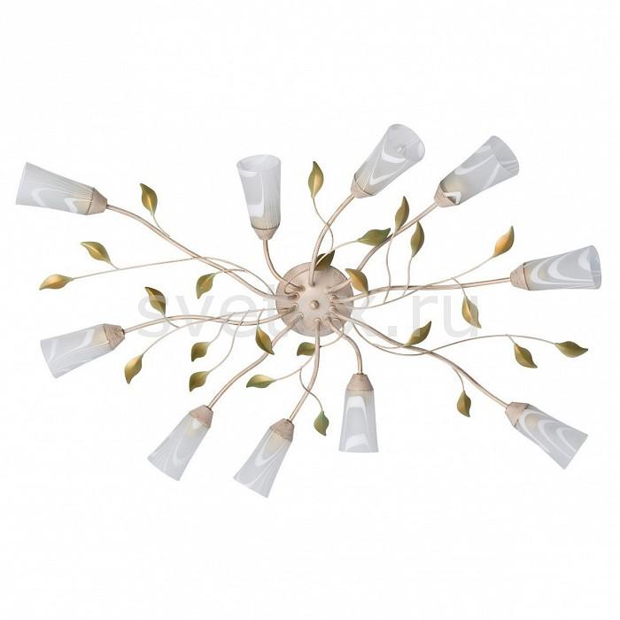 Потолочная люстра De MarktЛюстры<br>Артикул - MW_242015510,Бренд - De Markt (Германия),Коллекция - Восторг 1,Гарантия, месяцы - 12,Высота, мм - 200,Диаметр, мм - 980,Размер упаковки, мм - 480x220x280,Тип лампы - компактная люминесцентная [КЛЛ] ИЛИнакаливания ИЛИсветодиодная [LED],Общее кол-во ламп - 10,Напряжение питания лампы, В - 220,Максимальная мощность лампы, Вт - 60,Лампы в комплекте - отсутствуют,Цвет плафонов и подвесок - белый с рисунком,Тип поверхности плафонов - матовый,Материал плафонов и подвесок - стекло,Цвет арматуры - зеленый, золото, кремовый,Тип поверхности арматуры - матовый,Материал арматуры - металл,Количество плафонов - 10,Возможность подлючения диммера - можно, если установить лампу накаливания,Форма и тип колбы - свеча,Тип цоколя лампы - E14,Класс электробезопасности - I,Общая мощность, Вт - 600,Степень пылевлагозащиты, IP - 20,Диапазон рабочих температур - комнатная температура,Дополнительные параметры - способ крепления светильника к потолку — на монтажной пластине<br>