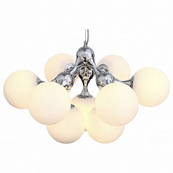 Подвесная люстра ST-LuceБолее 6 ламп<br>Артикул - SL549.103.09,Бренд - ST-Luce (Китай),Коллекция - Arte,Гарантия, месяцы - 24,Высота, мм - 410-1290,Диаметр, мм - 650,Тип лампы - компактная люминесцентная [КЛЛ] ИЛИнакаливания ИЛИсветодиодная [LED],Общее кол-во ламп - 9,Напряжение питания лампы, В - 220,Максимальная мощность лампы, Вт - 60,Лампы в комплекте - отсутствуют,Цвет плафонов и подвесок - белый,Тип поверхности плафонов - матовый,Материал плафонов и подвесок - стекло,Цвет арматуры - хром,Тип поверхности арматуры - глянцевый,Материал арматуры - металл,Возможность подлючения диммера - можно, если установить лампу накаливания,Тип цоколя лампы - E27,Класс электробезопасности - I,Общая мощность, Вт - 540,Степень пылевлагозащиты, IP - 20,Диапазон рабочих температур - комнатная температура,Дополнительные параметры - регулируется по высоте,  способ крепления светильника к потолку – на монтажной пластине<br>