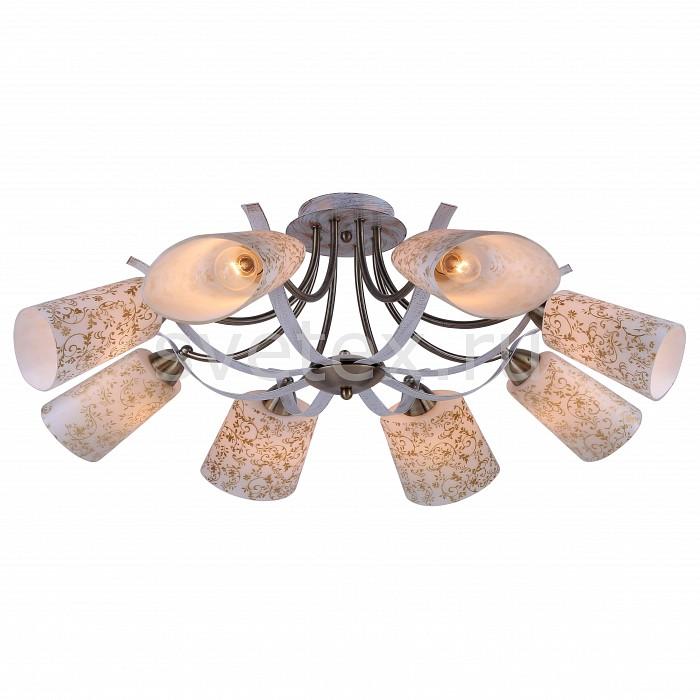 Потолочная люстра Arte LampЛюстры<br>Артикул - AR_A6212PL-8WG,Бренд - Arte Lamp (Италия),Коллекция - Leticia,Гарантия, месяцы - 24,Время изготовления, дней - 1,Высота, мм - 300,Диаметр, мм - 800,Тип лампы - компактная люминесцентная [КЛЛ] ИЛИнакаливания ИЛИсветодиодная [LED],Общее кол-во ламп - 8,Напряжение питания лампы, В - 220,Максимальная мощность лампы, Вт - 60,Лампы в комплекте - отсутствуют,Цвет плафонов и подвесок - белый с золотым рисунком,Тип поверхности плафонов - матовый,Материал плафонов и подвесок - стекло,Цвет арматуры - белый, золото,Тип поверхности арматуры - матовый,Материал арматуры - металл,Количество плафонов - 8,Возможность подлючения диммера - можно, если установить лампу накаливания,Тип цоколя лампы - E27,Класс электробезопасности - I,Общая мощность, Вт - 480,Степень пылевлагозащиты, IP - 20,Диапазон рабочих температур - комнатная температура<br>