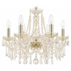 Подвесная люстра Bohemia Ivele Crystal5 или 6 ламп<br>Артикул - BI_1403_6_160_G,Бренд - Bohemia Ivele Crystal (Чехия),Коллекция - 1403,Гарантия, месяцы - 24,Высота, мм - 340,Диаметр, мм - 440,Размер упаковки, мм - 450x450x200,Тип лампы - компактная люминесцентная [КЛЛ] ИЛИнакаливания ИЛИсветодиодная [LED],Общее кол-во ламп - 6,Напряжение питания лампы, В - 220,Максимальная мощность лампы, Вт - 40,Лампы в комплекте - отсутствуют,Цвет плафонов и подвесок - неокрашенный,Тип поверхности плафонов - прозрачный,Материал плафонов и подвесок - хрусталь,Цвет арматуры - золото, неокрашенный,Тип поверхности арматуры - глянцевый, прозрачный, рельефный,Материал арматуры - металл, стекло,Возможность подлючения диммера - можно, если установить лампу накаливания,Форма и тип колбы - свеча ИЛИ свеча на ветру,Тип цоколя лампы - E14,Класс электробезопасности - I,Общая мощность, Вт - 240,Степень пылевлагозащиты, IP - 20,Диапазон рабочих температур - комнатная температура,Дополнительные параметры - способ крепления светильника к потолку - на крюке, указана высота светильника без подвеса<br>