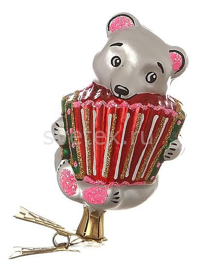 Елочная игрушка АРТИ-МЕлочные игрушки<br>Артикул - art_860-102,Бренд - АРТИ-М (Россия),Коллекция - Мишка с гармошкой,Высота, мм - 85,Цвет - красный, розовый, серый,Материал - стекло,Дополнительные параметры - на прищепке<br>