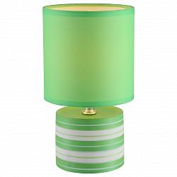 Настольная лампа GloboС абажуром<br>Артикул - GB_21662,Бренд - Globo (Австрия),Коллекция - Laurie,Гарантия, месяцы - 24,Высота, мм - 260,Диаметр, мм - 140,Размер упаковки, мм - 150x150x165,Тип лампы - компактная люминесцентная [КЛЛ] ИЛИнакаливания ИЛИсветодиодная [LED],Общее кол-во ламп - 1,Напряжение питания лампы, В - 220,Максимальная мощность лампы, Вт - 40,Лампы в комплекте - отсутствуют,Цвет плафонов и подвесок - зеленый,Тип поверхности плафонов - матовый,Материал плафонов и подвесок - текстиль,Цвет арматуры - разноцветный полосатый: белый, зеленый,Тип поверхности арматуры - матовый,Материал арматуры - керамика, металл, полимер,Тип цоколя лампы - E14,Класс электробезопасности - II,Степень пылевлагозащиты, IP - 20,Диапазон рабочих температур - комнатная температура<br>